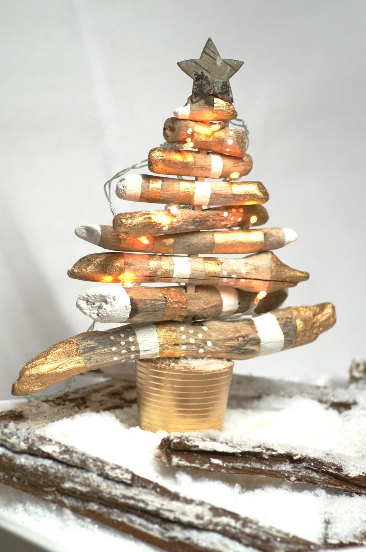 Deco Noel En Bois Naturel destockage - diy - kit pour la création d'un sapin de noël en bois flotté  pour un noël au naturel ! - hauteur : 25 cm -