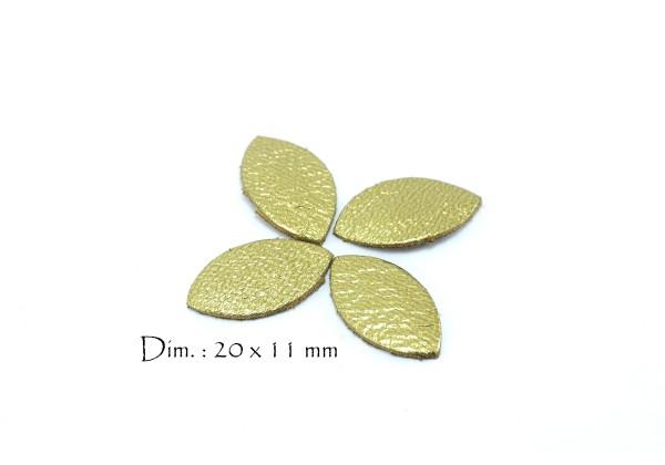 Feuille, Pétale de cuir Or Brillant - Dim. 20 x 11 mm - Lot de 6
