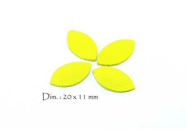 Feuille, Pétale de cuir Jaune Citron - Dim. 20 x 11 mm - Lot de 6