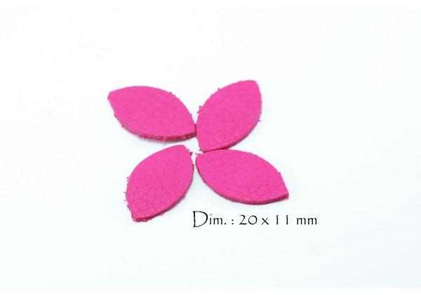 Feuille, Pétale de cuir Rose Fuchsia - Dim. 20 x 11 mm - Lot de 6