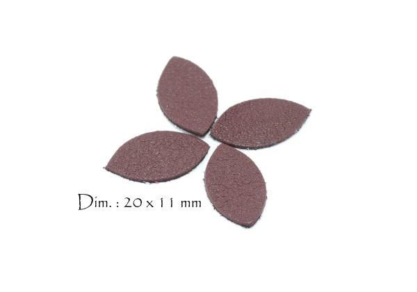 Feuille, Pétale de cuir Bordeaux - Dim. 20 x 11 mm - Lot de 6
