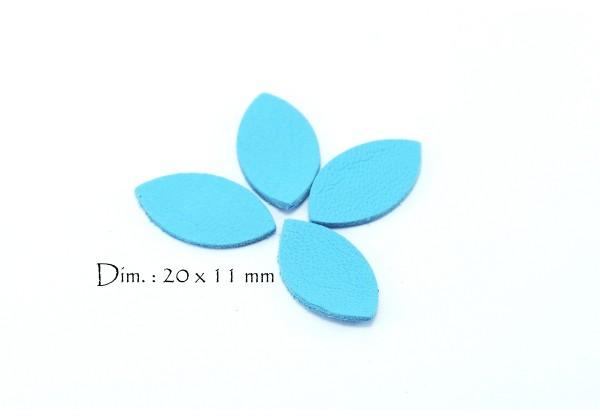 Feuille, Pétale de cuir Bleu Clair - Dim. 20 x 11 mm - Lot de 6