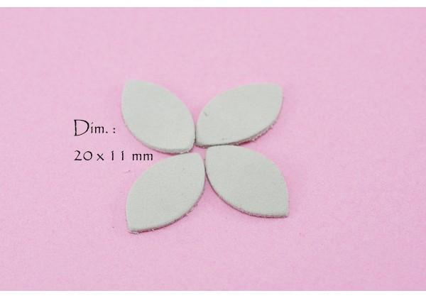 Feuille, Pétale de cuir Blanc Cassé - Dim. 20 x 11 mm - Lot de 6