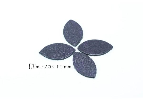 Feuille, Pétale de cuir Aubergine Nacrée - Dim. 20 x 11 mm - Lot de 6
