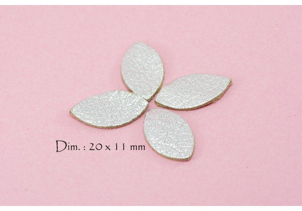 Feuille, Pétale de cuir Argent - Dim. 20 x 11 mm - Lot de 6