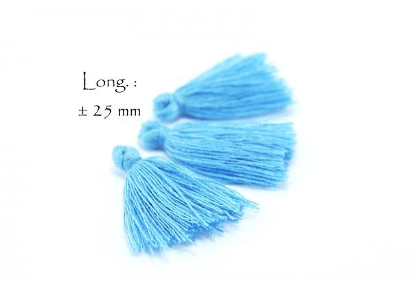 15 Pompons Glands Pampilles Colorés en Coton - Long. ± 25-30 mm - Couleur Bleu Ciel