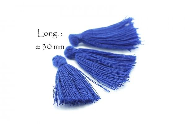 15 Pompons Glands Pampilles Colorés en Coton - Long. ± 25-30 mm - Couleur Bleu Electrique