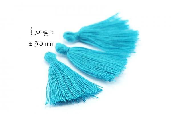 15 Pompons Glands Pampilles Colorés en Coton - Long. ± 25-30 mm - Couleur Bleu Turquoise