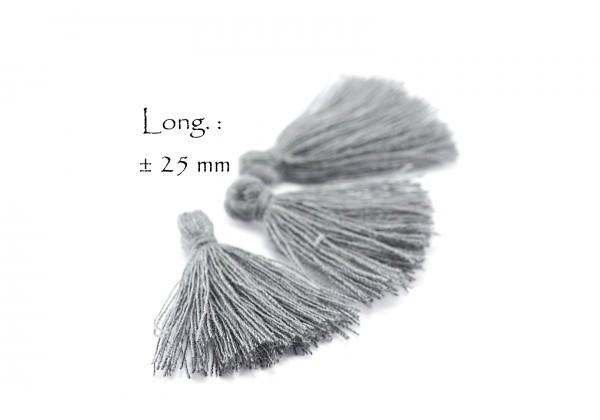 15 Pompons Glands Pampilles Colorés en Coton - Long. ± 25-30 mm - Couleur Gris Anthracite
