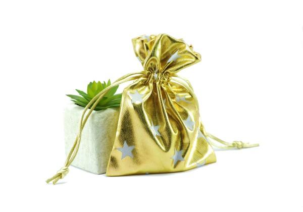 DESTOCKAGE - 2 Sacs en tissu Brillant Motif Etoile - Pochettes Cadeau avec lien - Dim. : 12,5 x 10 cm - Couleur Or et Blanc