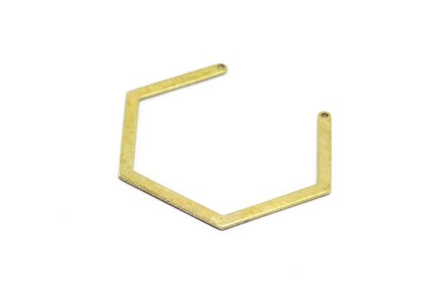 2 Connecteurs Forme Hexagone - Dim. : 42 mm - Laiton Brut - Couleur Or
