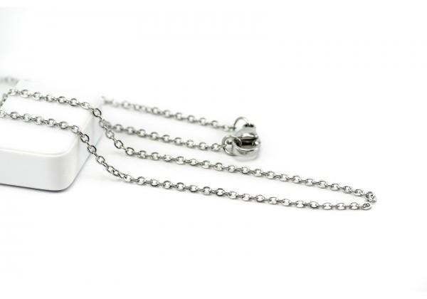 Collier Maille Forçat en Acier Inoxydable - Longueur : 45 cm - Maille 2 x 1,5 mm - Couleur Argent