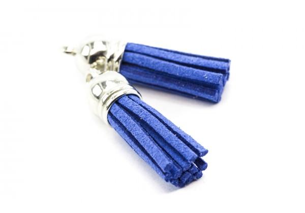 6 Breloques Pompons Gland en Suédine - Long. : 35 à 37 mm - Couleur Argent et Bleu Electrique