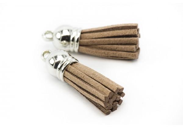 6 Breloques Pompons Gland en Suédine - Long. : 35 à 37 mm - Couleur Argent et Marron Chocolat