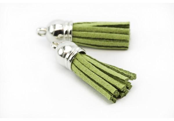6 Breloques Pompons Gland en Suédine - Long. : 35 à 37 mm - Couleur Argent et Vert Olive