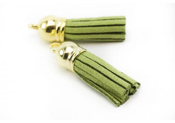 6 Breloques Pompons Gland en Suédine - Long. : 35 à 37 mm - Couleur Doré et Vert Olive