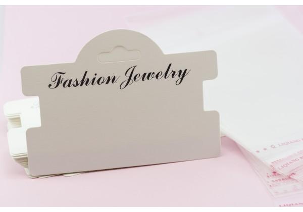 10 Cartons / Présentoir pour bracelet avec Pochette Plastique - Dim. :  10 x 7,5 cm - Carton Blanc