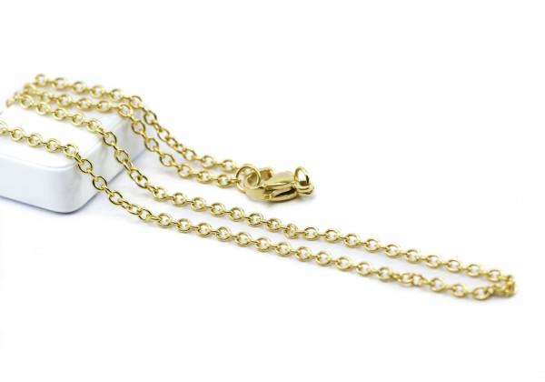 Collier Maille Forçat en Acier Inoxydable - Longueur : ± 45 cm - Maille 2 x 2,5 mm - Couleur Doré