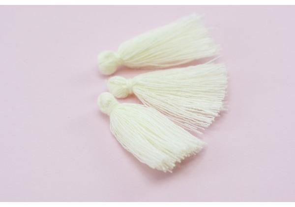15 Pompons Glands Pampilles Colorés en Coton - Long. ± 25-30 mm - Couleur Ivoire