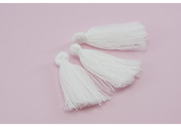 15 Pompons Glands Pampilles Colorés en Coton - Long. ± 25-30 mm - Couleur Blanc