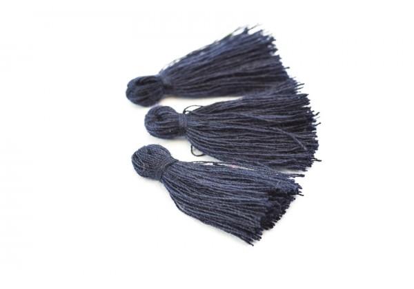 15 Pompons Glands Pampilles Colorés en Coton - Long. ± 25-30 mm - Couleur Bleu Nuit