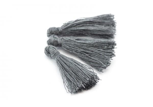 15 Pompons Glands Pampilles Colorés en Coton - Long. ± 25-30 mm - Couleur Gris Foncé