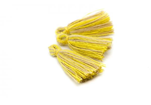 15 Pompons Glands Pampilles Colorés en Coton - Long. ± 25-30 mm - Couleur Jaune et Beige