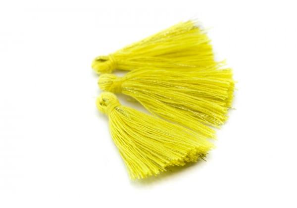 15 Pompons Glands Pampilles Colorés en Coton - Long. ± 25-30 mm - Couleur Jaune et Or