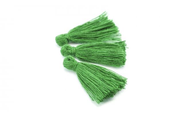 15 Pompons Glands Pampilles Colorés en Coton - Long. ± 25-30 mm - Couleur Vert Gazon