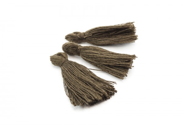 15 Pompons Glands Pampilles Colorés en Coton - Long. ± 25-30 mm - Couleur Marron Brun