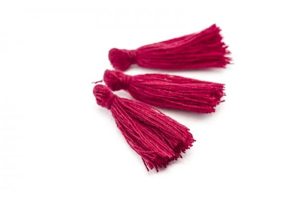 15 Pompons Glands Pampilles Colorés en Coton - Long. ± 25-30 mm - Couleur Rouge Sombre