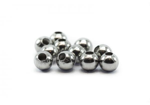 50 Perles creuses en Acier Inoxydable - Diam. 5 mm - Couleur argent
