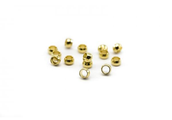 50 perles à écraser en Acier Inoxydable - Dim. : 2,5 x 1,5 mm - Couleur Or / Doré