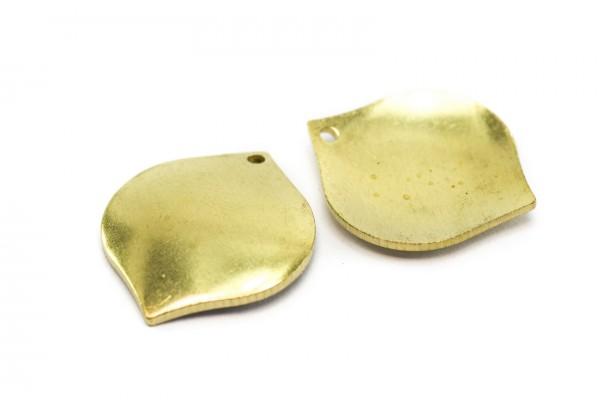 6 Breloques Forme Feuille Pétale en Laiton Brut - Dim. : 22 x 19 mm - Couleur Doré