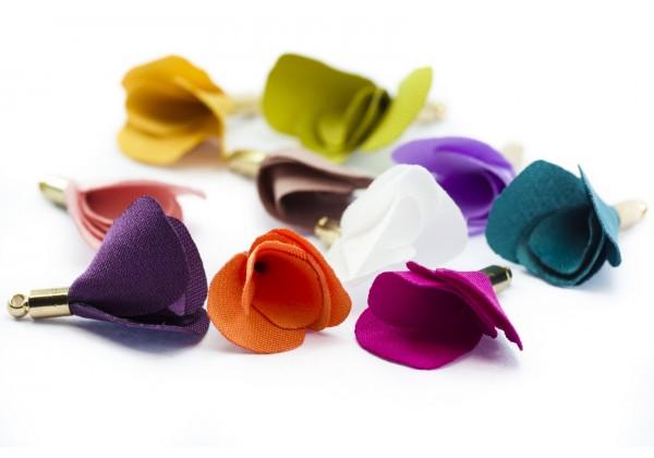 10 Pompons Pampilles Colorés en Tissu- Long. : ± 22 mm - Lot Multicolore