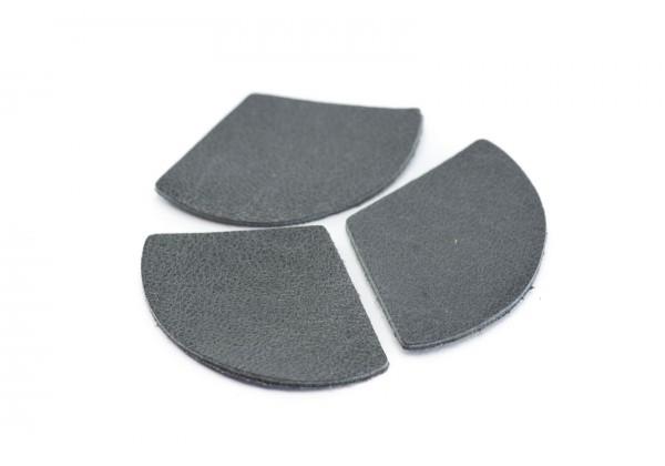 Eventails de cuir Gris Anthracite - Dim. 33 x 23 mm - Lot de 6