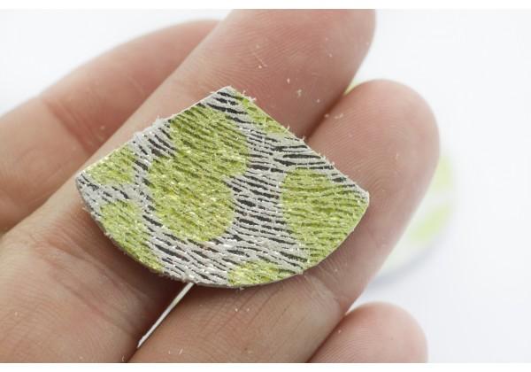 Eventails de cuir Argent nuagé Vert - Dim. 33 x 23 mm - Lot de 6