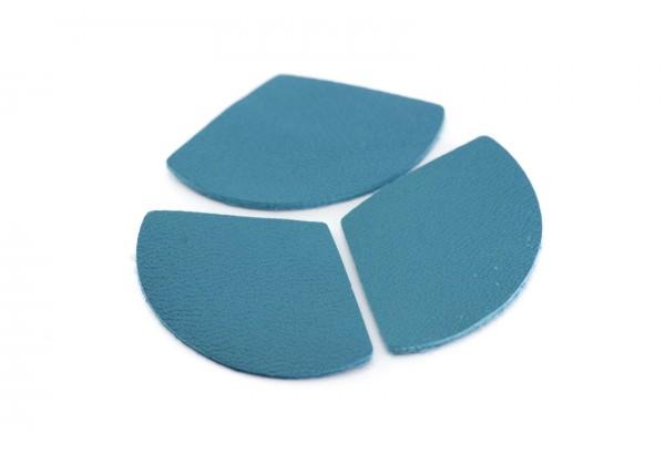 Eventails de cuir Bleu Turquoise - Dim. 33 x 23 mm - Lot de 6