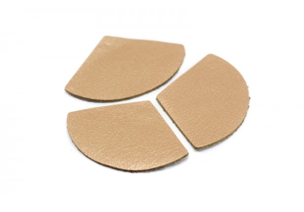 Eventails de cuir Couleur Saumon Nacré - Dim. 33 x 23 mm - Lot de 6