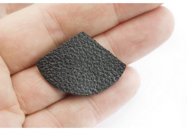 Eventails de cuir Couleur Noir pailleté - Dim. 33 x 23 mm - Lot de 6