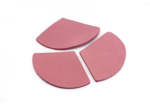 Eventails de cuir Couleur Rose Pétale - Dim. 33 x 23 mm - Lot de 6