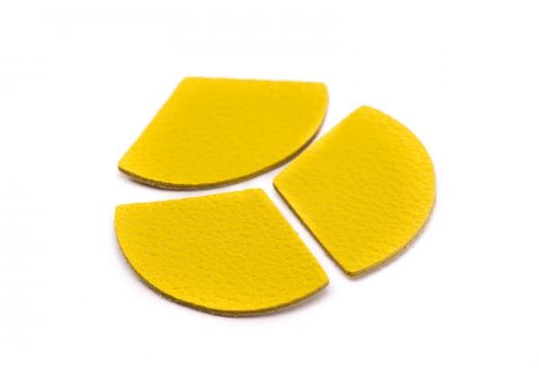 Eventails de cuir Couleur Jaune Soleil - Dim. 33 x 23 mm - Lot de 6