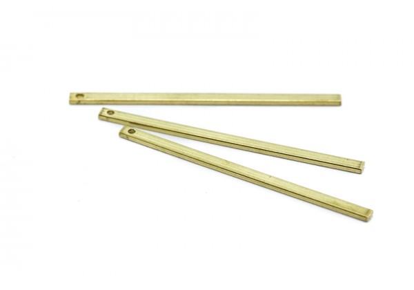 6 Breloques Tiges Droites en Laiton Brut - Dim. : 40 x 2 mm - Laiton Brut - Couleur Or