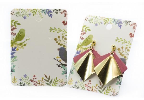 10 Cartons / Présentoir pour bijoux - 7,2 x 5,2 cm - Carton Illustré Esprit Nature