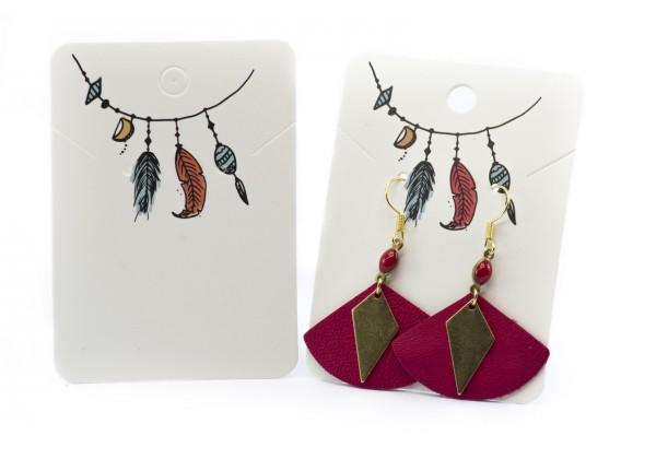 10 Cartons / Présentoir pour bijoux - 7,2 x 5,2 cm - Carton Illustré Esprit Bohème
