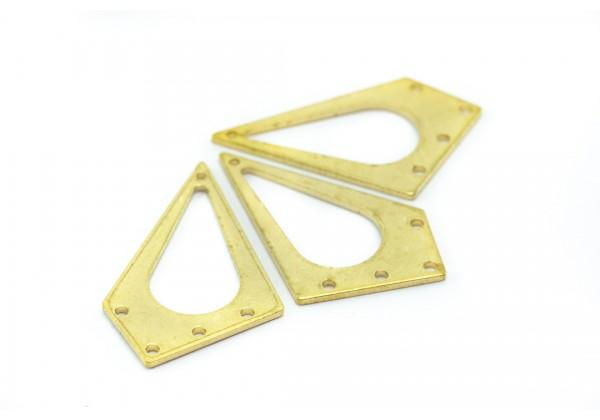 4 Breloques Connecteurs Forme Losange évidé en Laiton Brut - Dim. : 31 x 19 mm - Couleur Or