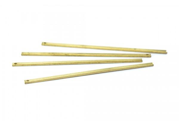 6 Breloques Tiges Droites en Laiton Brut - Dim. : 60 x 2 mm - Laiton Brut - Couleur Or