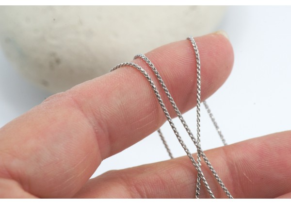 1 Mètre - Chaine maille serpentine / serpent - Diam. : 0,8 mm - Couleur Argent Platine