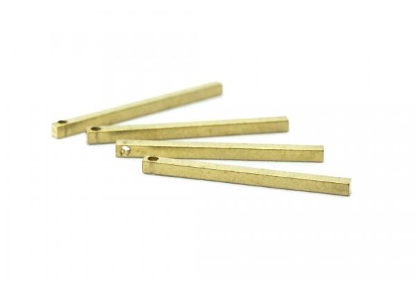 6 Breloques Tiges Droites en Laiton Brut - Dim. : 30 x 2 mm - Laiton Brut - Couleur Or
