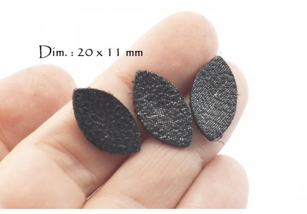 Feuille, Pétale de cuir Noir Pailleté - Dim. 20 x 11 mm - Lot de 6